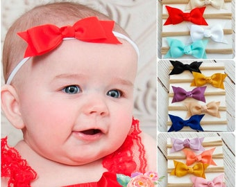 SET of 5 Nylon baby headbands, baby headbands, nylon headband,newborn baby headband set,baby girl headbands,mini bow headband,White headband