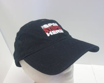 90s The Spin Stops Here hat cap black dad hat low profile