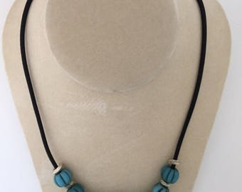 African glass on leather necklace