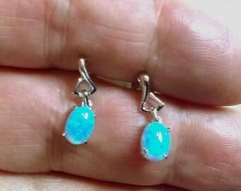 Opal Stud Earrings, Sky Blue Opal, Sterling Silver Stud Earrings, Opal Jewelry, Opal Earrings, Stud Earrings, Synthetic Opal, UK Seller