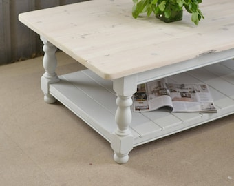 Rustic white coffee table, pine table, country living, country home, white pine table, painted furniture, living room furniture, upcycled