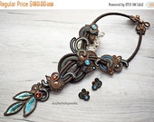 ON SALE Blue and brown elegant soutache necklace and stud earrings.