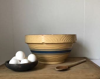 Vintage Yellow ware Bowl * Yellow Ware Bowl * Pottery Bowl * Vintage Mixing Bowl * Stoneware Bowl
