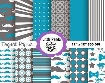70% OFF SALE Little Man Digital Paper Pack, Scrapbook Papers, 12 jpg files 12 x 12 - Instant Download - D99