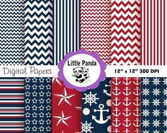 70% OFF SALE Nautical Digital Paper Pack, Scrapbook Papers, 12 jpg files 12 x 12  - navy blue, red, white - Instant Download - D57