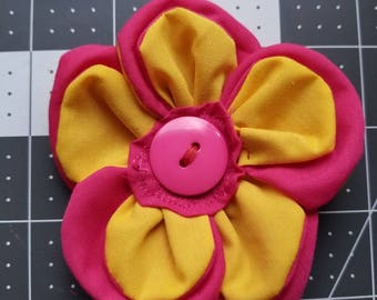 Yellow and pink flower hair clip