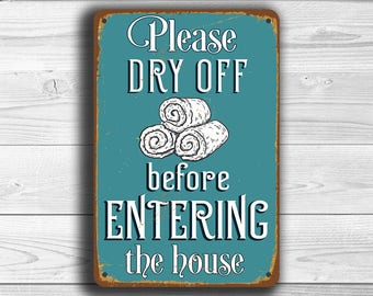 PLEASE DRY OFF before entering house, Pool Rules Signs, Please Dry Off Sign, Vintage style Pool Rules, Outdoor Pool Signs, Pool Decor