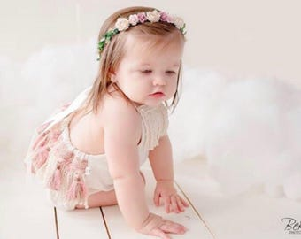 Baby Flower Crown - Dusty Rose Crown, Child Flower Crown, Flower Girl Crown, Boho Baby Halo, Baby Hair Accessory, Floral Crown, Baby Girl