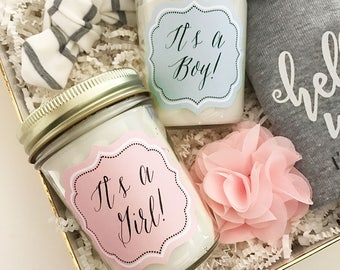 2 Its a Girl Candle - Its a Boy Candle - Baby Shower Candles - Baby Shower Favors Prizes - Mason Jar Candle - Soy Candle Gift Ideas 3178BBY