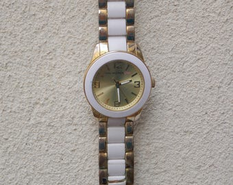 Gold and White Large Isaach Mizrahi Live Watch