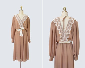 1970s What Goes Around Comes Around Dress { S-M } Vintage 70s Deep V Lace Dress