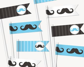 Blue Mustache Baby Shower Cupcake Flags. Printable Straw Flags. Cupcake Toppers. Cupcake Picks. Baby Boy Decor. Blue Little Man Decorations