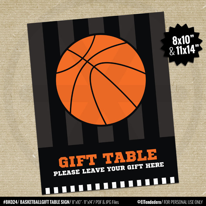 Basketball Gift Table Sign. Printable Team Party Sign. Kids Birthday Party  Decorations. Sports