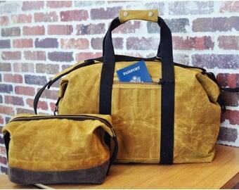 Yellow Waxed Canvas Weekender Bag, Christmas Gift, Travel Bag, Waxed Canvas Bag, Gift for Dad, Luggage & Travel, Waxed Canvas Duffel