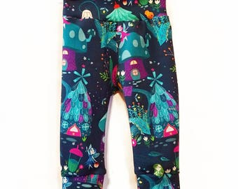 SALE Ready to ship Pixie village leggings in size 6m and 12m. Fairy garden pants for toddler girls.