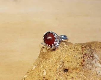 Sterling silver Red Garnet Ring. Reiki jewelry uk. January birthstone. Adjustable ring. 10x8mm 2nd anniversary Gemstone