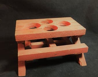 Vintage Wood Picnic Table Condiment Holder