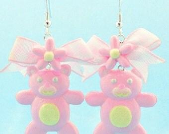 Hypoallergenic Teddy Bear Drop Earrings - Kawaii Teddy Bear Earrings with Bow - Daisy Teddy Bear Bow Earrings - Fairy Kei Teddy Bear Earring