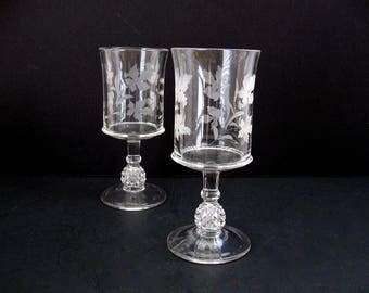 Ripley & Co Pavonia Etched Wine Goblets / Antique EAPG c. 1885 Pineapple Stem Oak Leaf and Acorn Etching