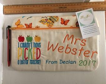 Teacher Pencil Case - Apples - custom order