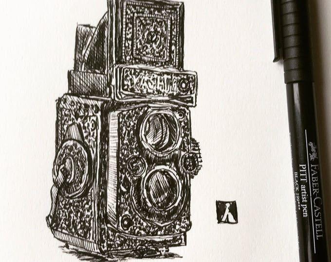 KillerBeeMoto:  Original Pen Sketch of Vintage Camera