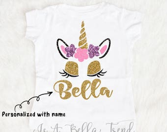 Personalized Unicorn Shirt, Unicorn Birthday Girl, Unicorn Name Shirt, Unicorn Baby, Glitter Unicorn, Unicorn Outfit Baby Girl Clothes Shirt