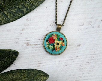 Floral Embroidery Necklace - Detailed Embroidered Jewelry - Miniature Flowers - Red Yellow Bouquet Sunflower - Teal Linen Bronze Pendant