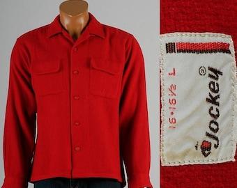 SALE Mens Vintage 50s Jockey Bright Red Wool Loop Collar Board Shirt Flap Chest Pockets 16 Large