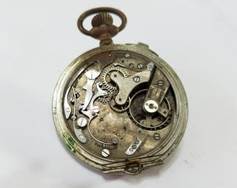 Vintage, C.L. Guinand, Chronograph, Stop Watch, Pocket Watch, Movement, Steampunk, Altered Art, Assemblage, Beading, Jewelry, Supplies
