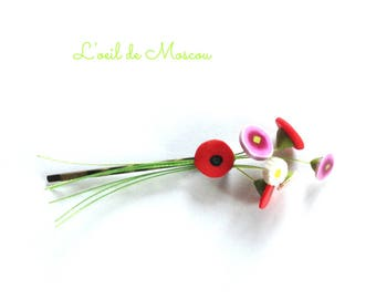 hair clip Bobby creation original bouquet of wild flowers
