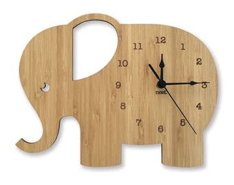 Elephant Wall Clock | Laser cut Nursery & Kids Decor