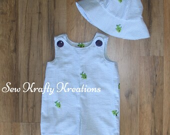 Baby Boy's Overall/Romper - Blue Plaid with Green Fish and Matching Sun Hat