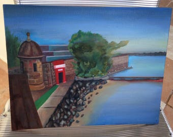 Old San Juan Oil Painting Puerto Rico Art Viejo garita el morro