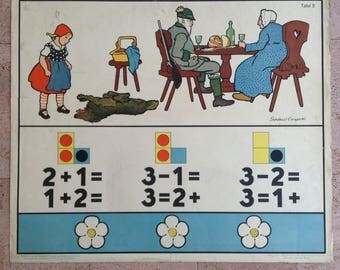 1920s German School Wall Chart, Little Red Riding Hood, vintage math teaching 1926, art by Gertrud Caspari, German fairy tales & traditions