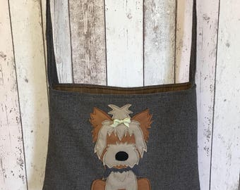 Yorkshire terrier cross body or shoulder tote style bag in brown tweed woollen fabric