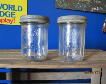 ball freezer jars. 2 Vintage Ball Freezer Jars With Zinc Caps Lids Ribbed Glass Made In 1