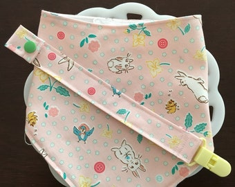 Pink Bunnies Easter Baby Bandana Bib and Paci Clip