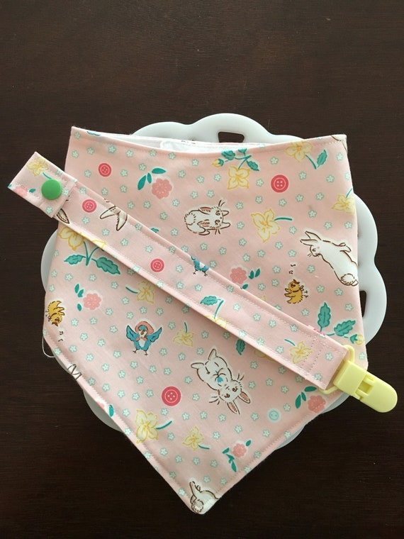 Pink Bunnies Easter Baby Bandana Bib and Paci Clip