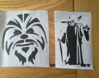 Chewbacca and yoda vinyl decal stickers.size 6x5inch approx