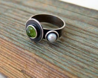 Sterling Silver Peridot Pearl Ring