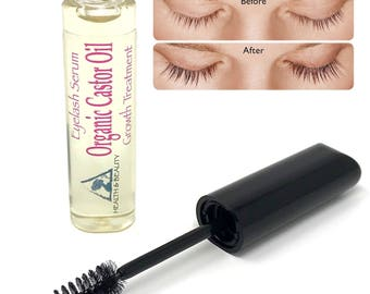 Castor Oil Stimulate Eyelash Growth Serum Cold Pressed Organic 100% Pure Hexane Free Brow & Eyelashes Treatment in Mascara Tube