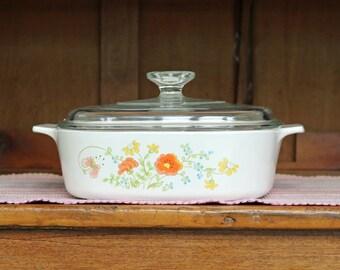 Corning Ware ~ 2 Qt. ~ Wildflower ~ Covered Casserole ~ A-2-B ~ Sauce Pan ~ Baking Dish ~ 1977-85 ~ Pyroceram