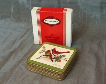 """Set of 6 """"North American Songbirds"""" Coasters ~ Boxed ~ England/United Kingdom/UK ~ Pimpernel ~ Celluware"""
