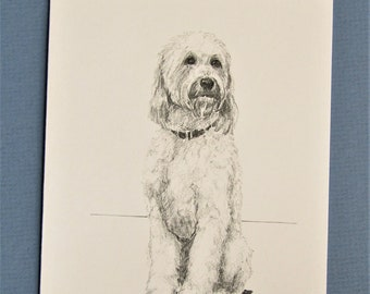 Golden Doodle, 6 blank note cards  and envelopes, from my drawings