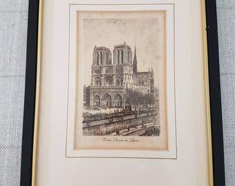 Pen and ink print - Notre Dame de Paris