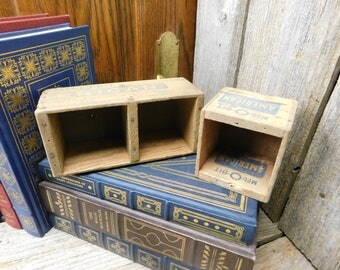 Set of 2 Vintage Mel-O-Bit Wood Processed American Cheese Boxes