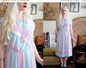 20% OFF SALE Vintage 1980s pastel paint striped short sleeve sundress dress pink lavender yellow teal blue