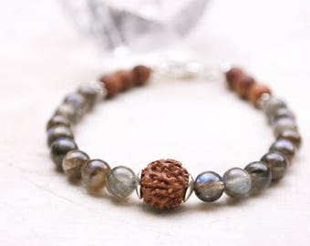Yoga and meditation beads bracelet crown chakra mala bracelet 18 Labradorite mala bracelet rudraksha wrist mala with sterling silver clasp