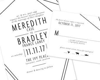 Modern and Geometric Wedding Invitation | Graphic and Bold Wedding Invitation | DIY Option Available | Invitation | RSVP | Info Card #1218