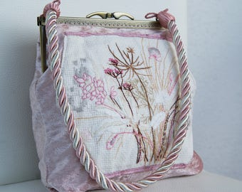 Pink Velvet Embroidered Handbag embroidery Clutch Flower vintage embbroidery Textile Art Country Flowers romantic shabby chic purse evening